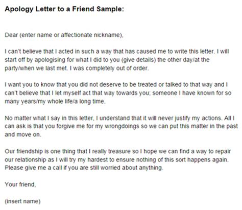 Sorry Apology Letter To Friend Apology Letter To A Friend Sle Just Letter Templates