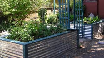 raised bed planter made from corrugated metal garden