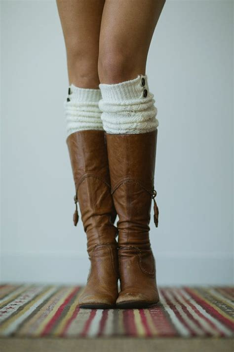 knitted boot socks the knee button socks by
