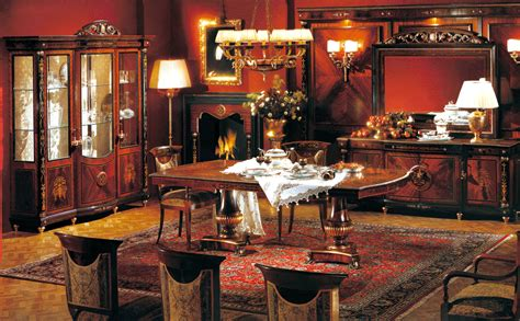 classic european mahogany dining room set table chairs  cabinets