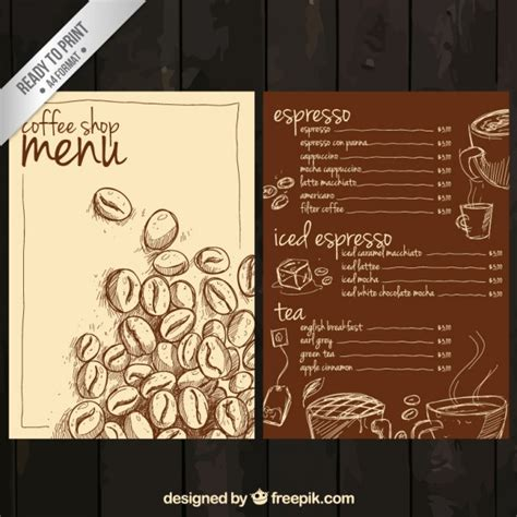 hand drawn coffee menu vector free download