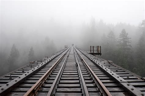 train rail  fog photo hd wallpaper wallpaper flare