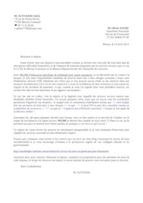 Lettre Pour Un Refus De Visa Lettre De Recours A Un D 233 Put 233 C 233 Dric Autexier Mod 232 Les De Lettres Et Formulaires