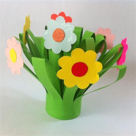 Paper Craft Flower Pot - paper flower bouquet family crafts