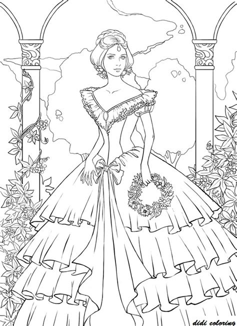Princess Coloring Pages For Adults Printable Printable Young Princess Standing Among Flowers Coloring