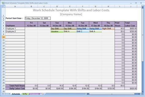 Excel 2010 Event Schedule Template Software Labor Cost Template Excel