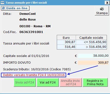 costo pagamento f24 in tassa annuale libri sociali 2016 software contabilit 224 gb