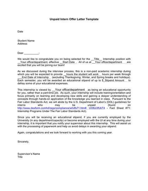 internship offer letter unpaid intern offer letter template in word and pdf formats