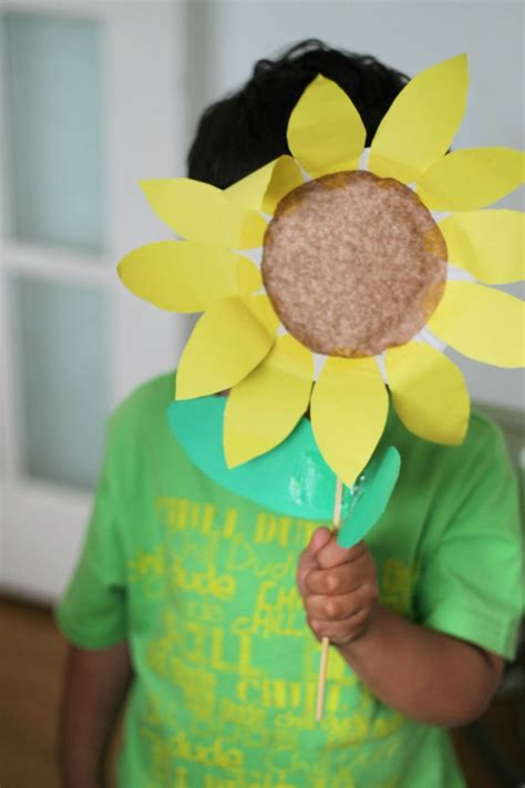 Paper Plate Sunflower Craft - paper plate sunflower in the playroom