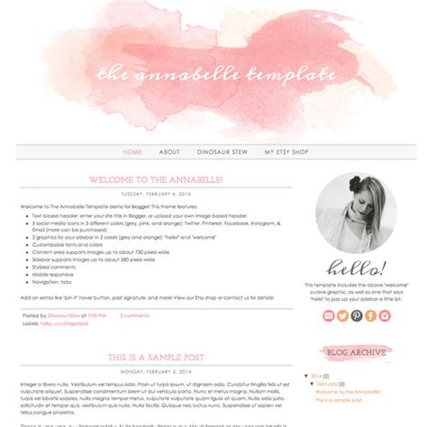 instant download blogger template the annabelle template