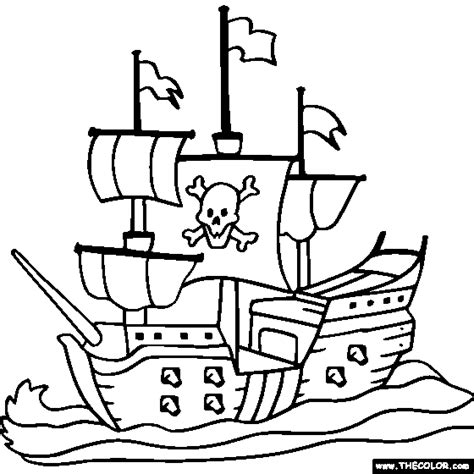 free cartoon tall ship coloring pages