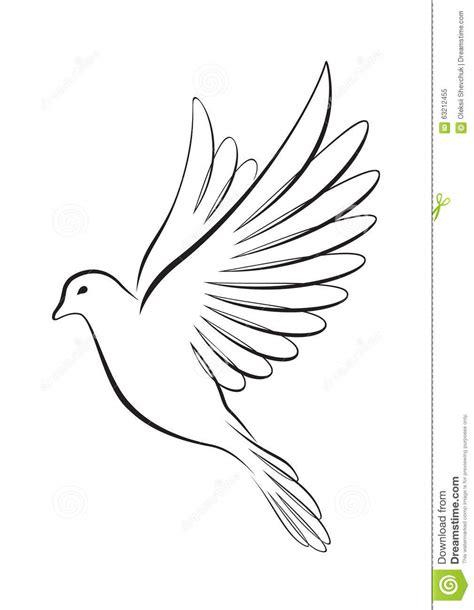 vector line art tutorial illustrator line art style flying dove stock vector image 63212455