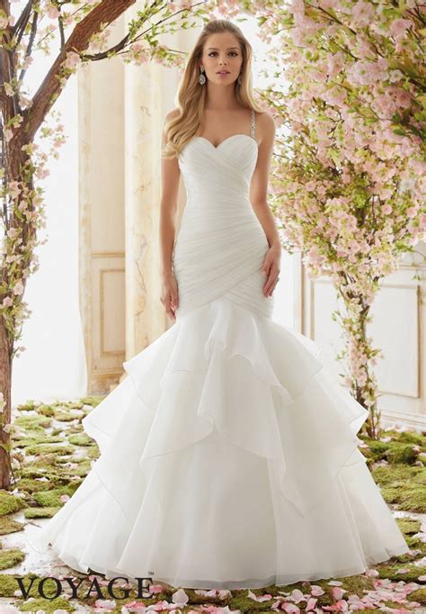 wedding dress mori 6833 v neckline dresses