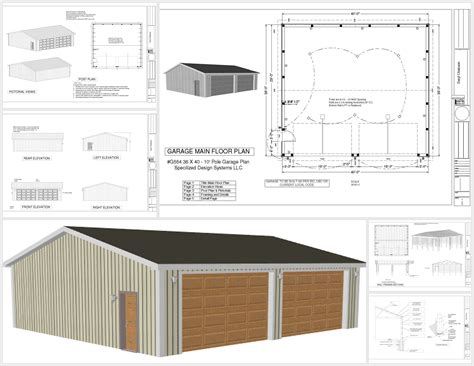 pole barn plans g554 36 x 40 x 10 pole barn sds plans