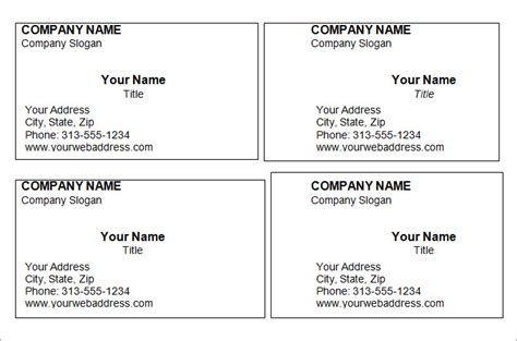 a4 name card template word free printable business card templates for word