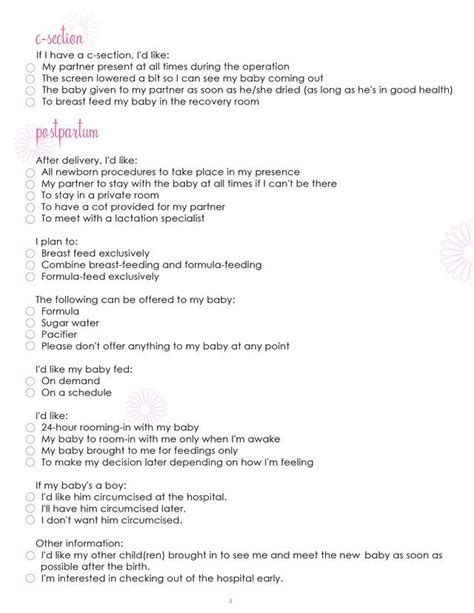 Redirecting To Http Www Sheknows Com Parenting Slideshow 632 Printable Checklists Birth Plan Elective C Section Birth Plan Template