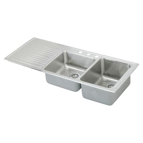 Shop Elkay Gourmet 22 In X 54 In Lustertone Double Basin Stainless Steel Kitchen Sinks With Drainboard