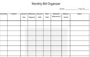 monthly bill organizer free word templates