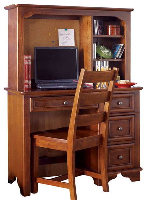 Lea Deer Run Student Desk With Hutch And Chair In Brown Cherry Student Desk