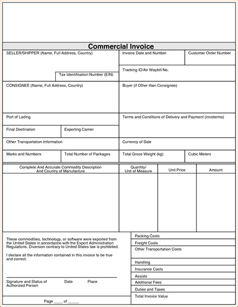 international shipping invoice template 7 commercial invoice pdf authorizationletters org