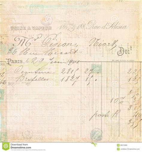 french script l vintage french invoice receipt script background royalty