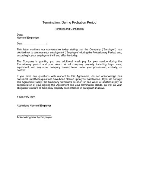 termination letter format during probation period best photos of new hire probation period letter employee