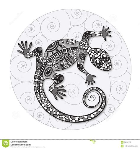 zentangle stylized drawing of a lizard stock vector