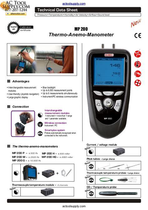 transistor anemometer kimo mp 200 p thermo anemometer datasheet