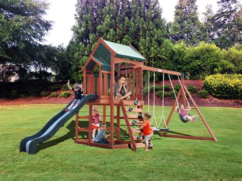 backyard swing set sportspower timber play ii with balcony swing set