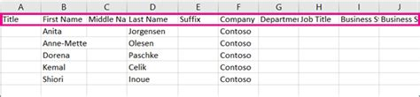 contacts csv format template create or edit csv files to import into outlook office