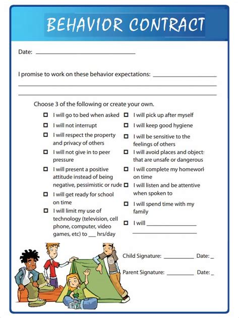 15 Behaviour Contract Templates Sle Templates Behavior Contract Template Elementary