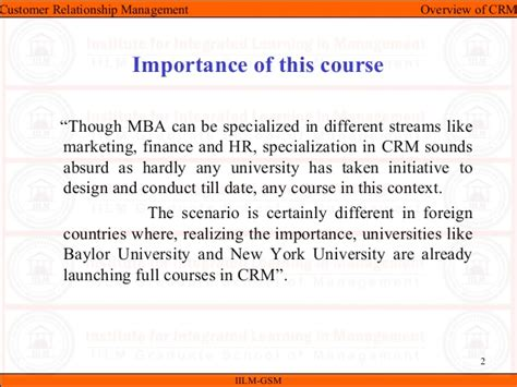 Specialized Mba Programs In India by Crm Unit I Overview Of Crm