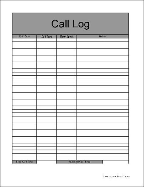 printable pdf call log sheet search results calendar 2015