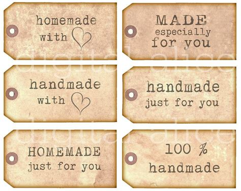 Etiketten Aufkleber Handmade by Homemade Handmade Tags Product Labels Instant Download