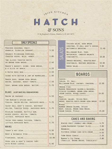 menu layout pdf art of the menu hatch sons irish kitchen