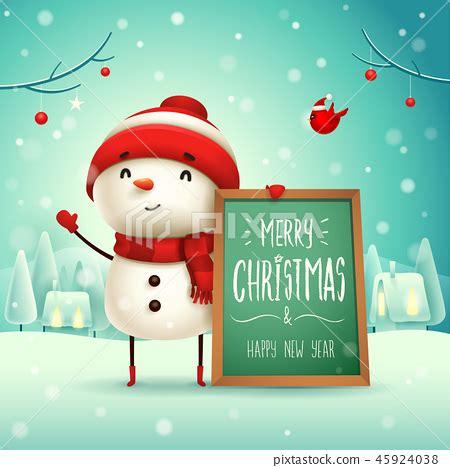 merry christmas snowman   snow scene  pixta
