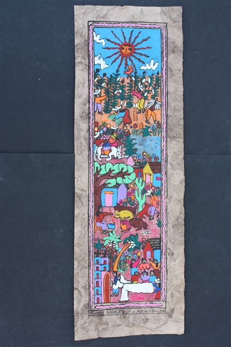 Patio Wall Hangings Mexican Amate Bark Painting Wall Decor Wall Hanging