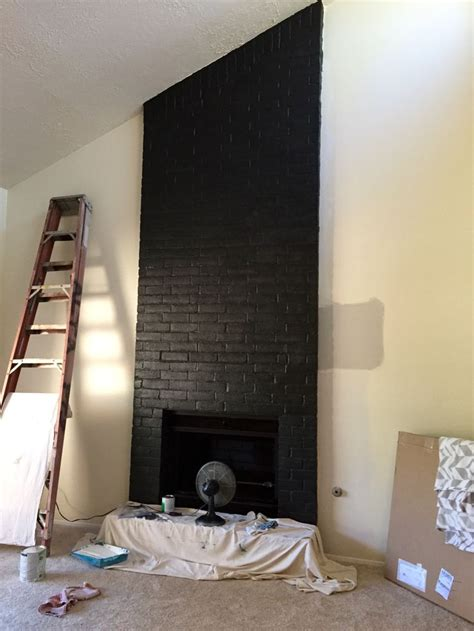 Painted Black Fireplace by 1000 Ideas About Brick Fireplace Makeover On