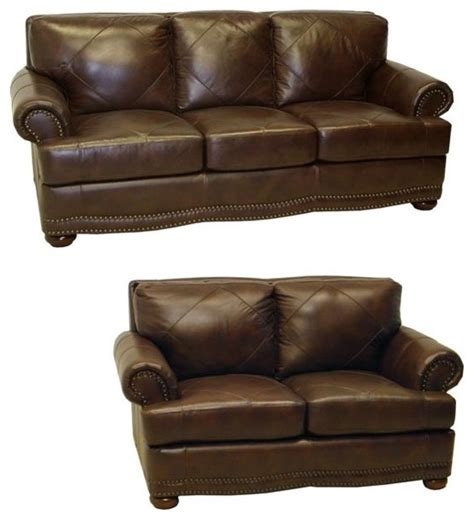 shoreline chocolate italian leather sofa and loveseat