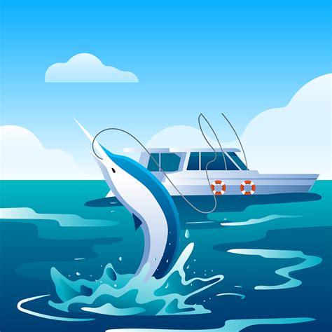 deep sea fishing boat vector deep sea fishing swordfish download free vector art