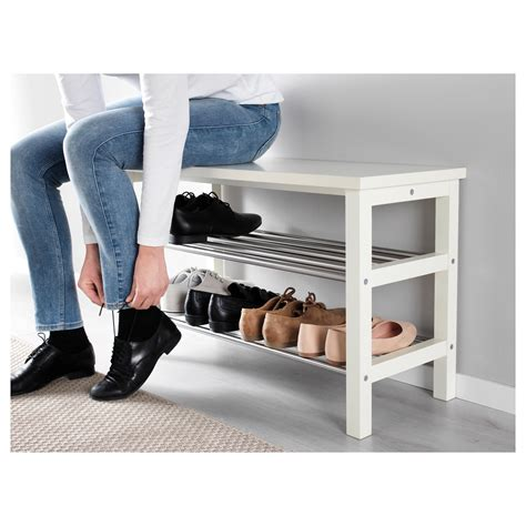 shoe storage bench white tjusig bench with shoe storage white 81x50 cm ikea