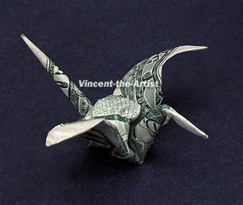 Origami Money Crane - tiny crane dollar origami animal bird vincent the artist