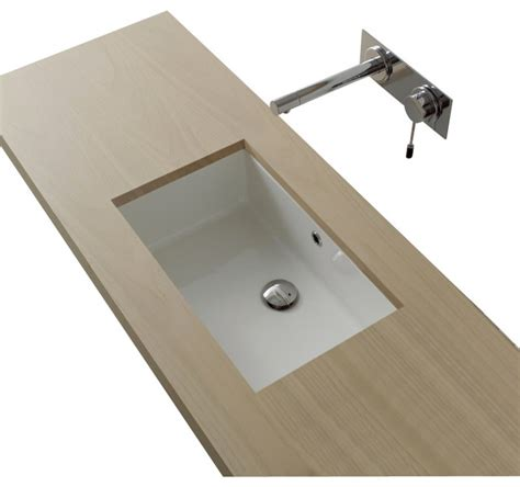 Modern Rectangular Bathroom Sinks Rectangular White Ceramic Undermount Sink Modern