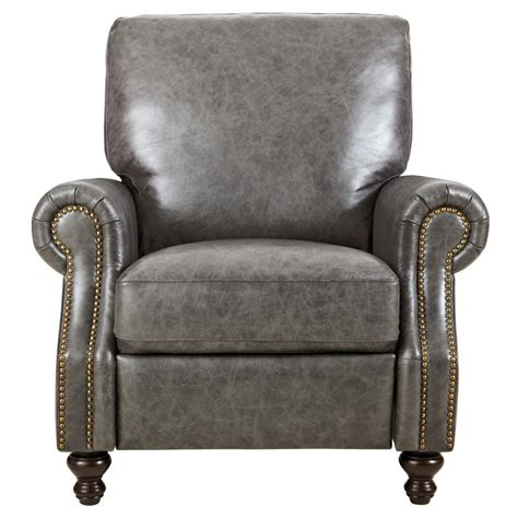 Grey Leather Recliner Home Decorators Collection Marco Grey Leather Recliner 9948500130 The Home Depot