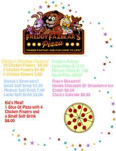 Freddy fazbear s pizza place menu by wittnebenbrian on deviantart