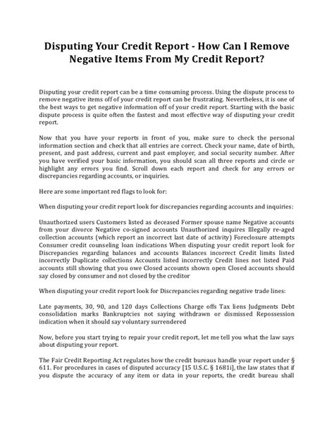Credit Inquiry Dispute Letter Disputing Your Credit Report How Can I Remove Negative Items From M