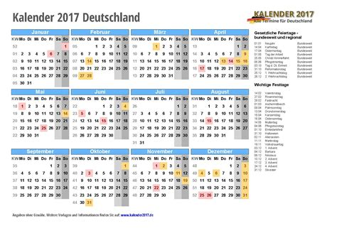 Kalender 2017 Tage Kalender 2017 Mit Feiertagen Kalenderwochen