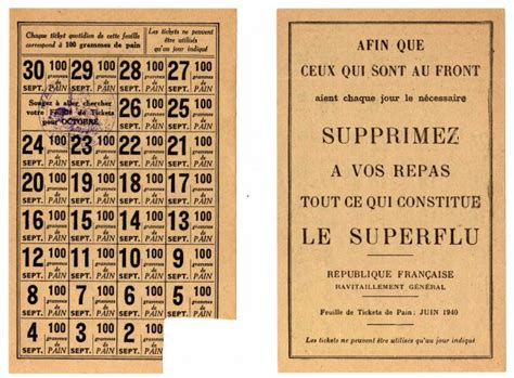 Tickets De Rationnement by Pin Ticket De Rationnement Francais Juin 1940 100 Grammes