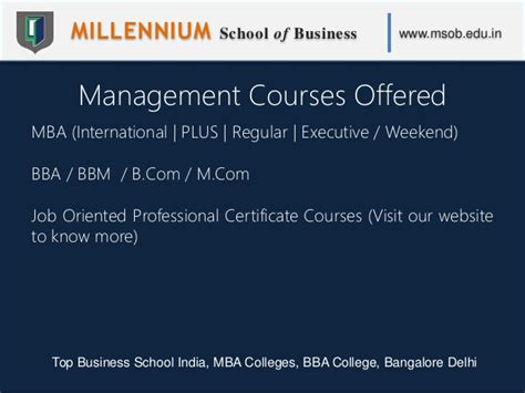 Pre Mba Programs In India by Millennium School Of Business Msob Top Business