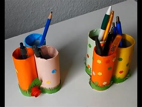 How To Make Pen Stand Using Paper - how to make pen stand using toilet paper roll